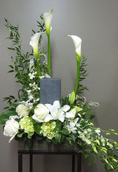 flower arrangement for urn 2004 2 florist montreal abaca. Black Bedroom Furniture Sets. Home Design Ideas